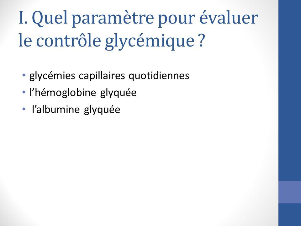 I. Quel paramètre pour évaluer le contrôle glycémique