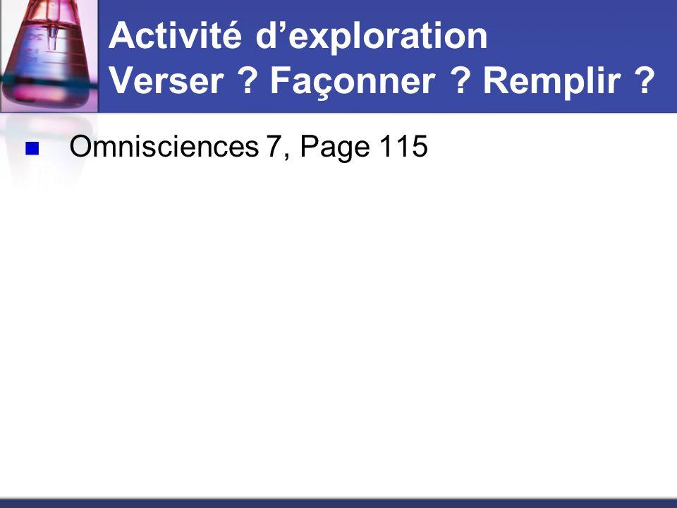 Activité d'exploration Verser Façonner Remplir
