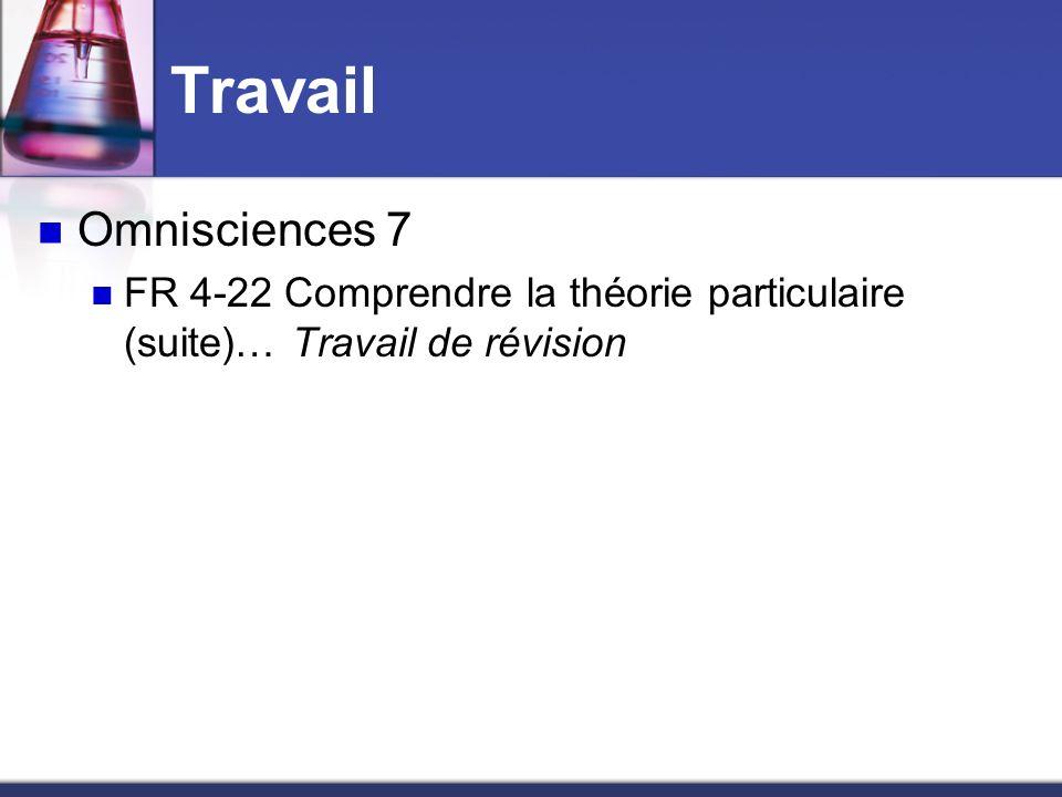 Travail Omnisciences 7 FR 4-22 Comprendre la théorie particulaire (suite)… Travail de révision