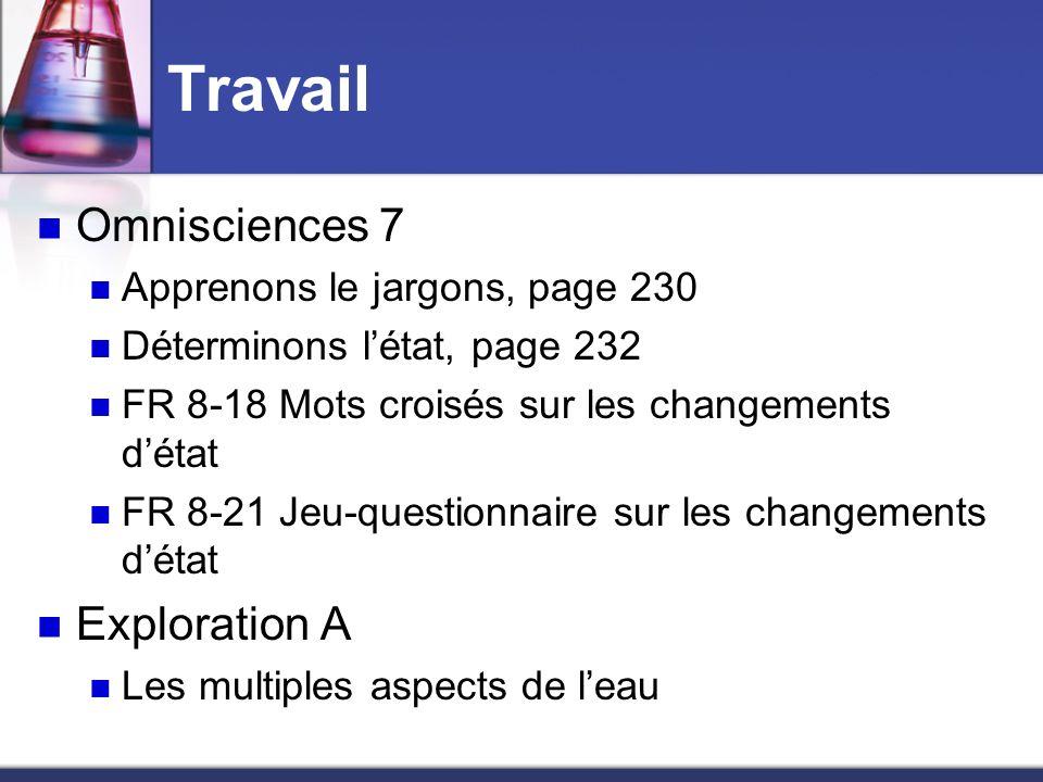 Travail Omnisciences 7 Exploration A Apprenons le jargons, page 230