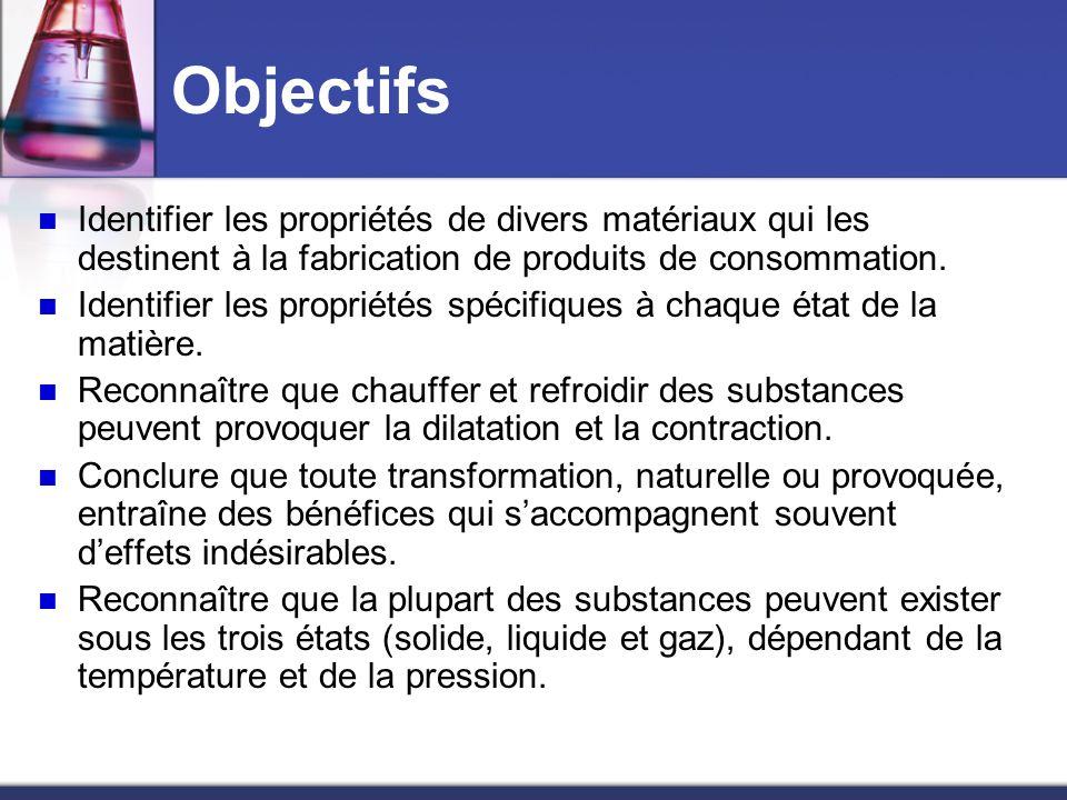 Objectifs Identifier les propriétés de divers matériaux qui les destinent à la fabrication de produits de consommation.