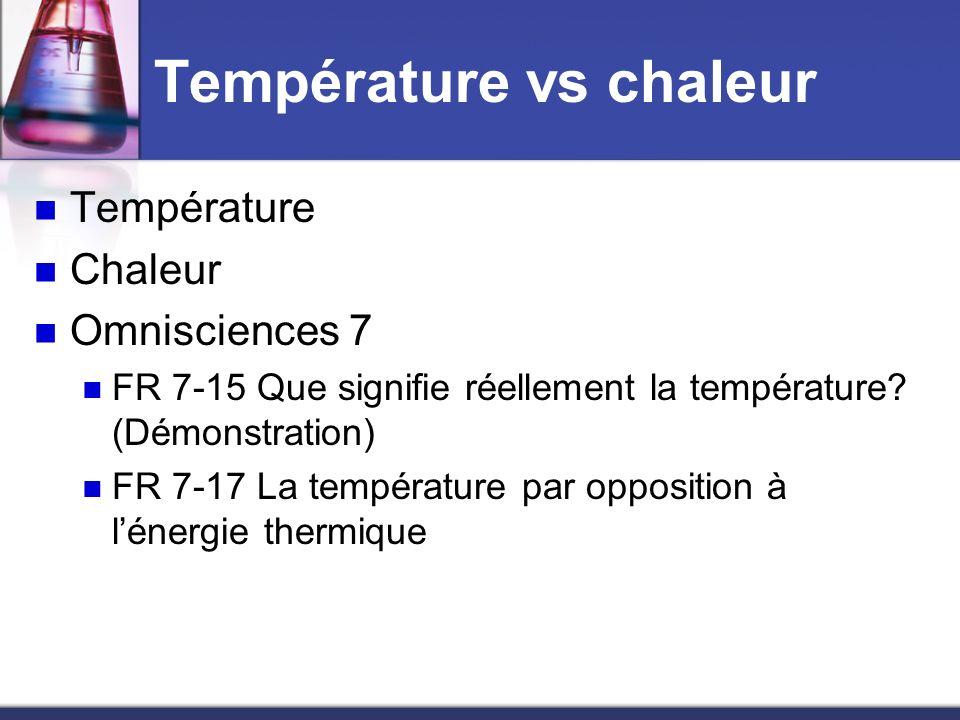 Température vs chaleur