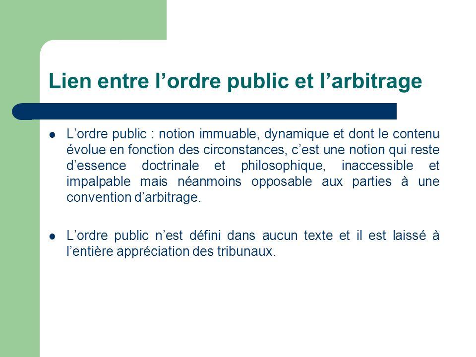 Lien entre l'ordre public et l'arbitrage