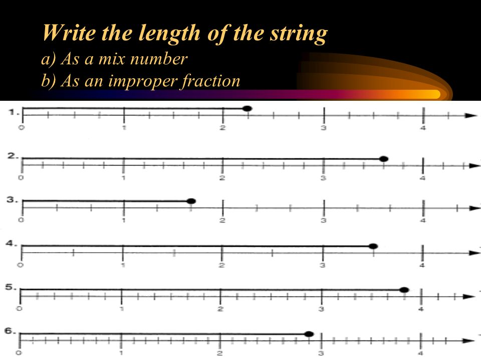 Write the length of the string a) As a mix number b) As an improper fraction