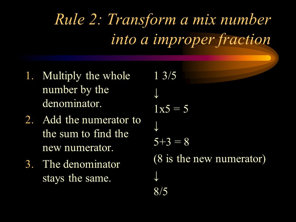 Rule 2: Transform a mix number into a improper fraction