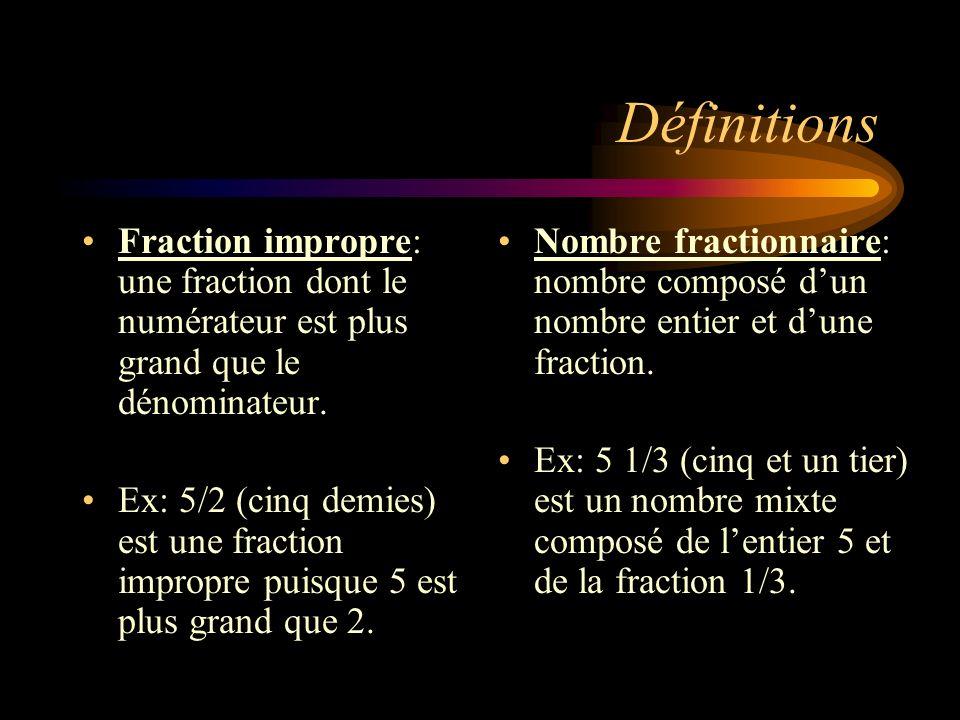 Définitions Fraction impropre: une fraction dont le numérateur est plus grand que le dénominateur.