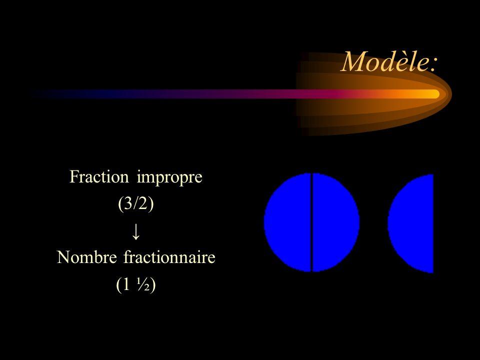 Modèle: Fraction impropre (3/2) ↓ Nombre fractionnaire (1 ½)