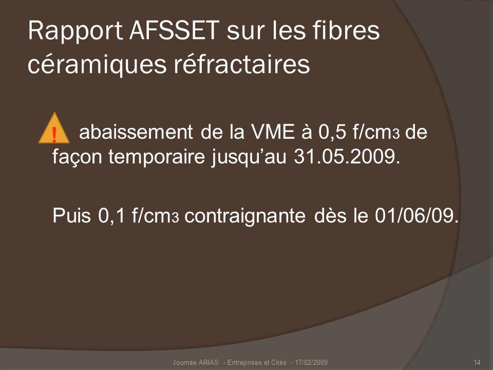 Rapport AFSSET sur les fibres céramiques réfractaires