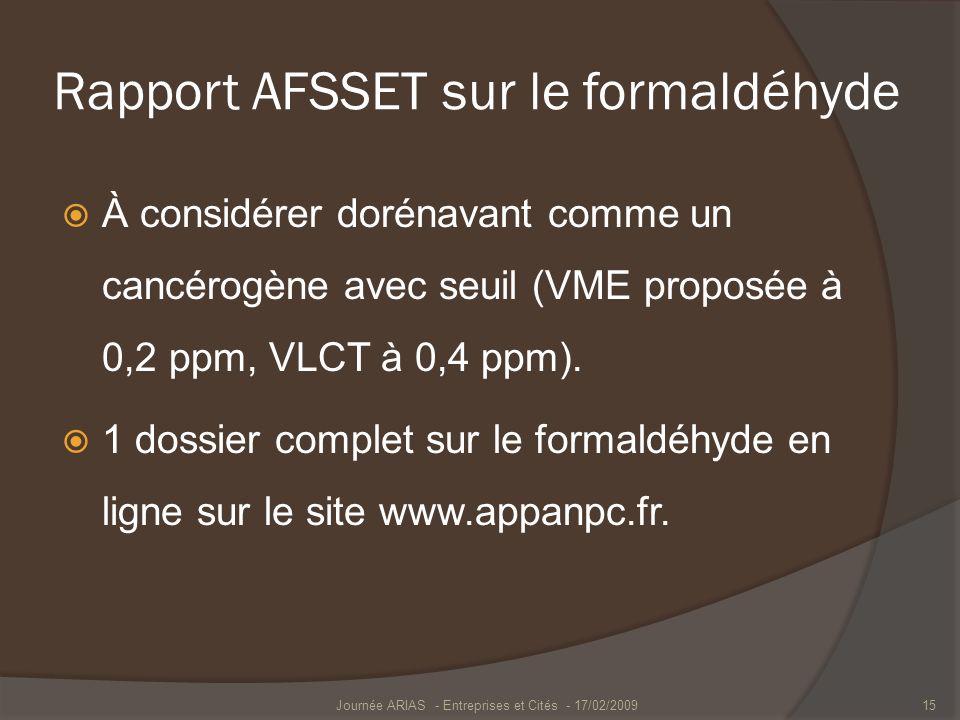 Rapport AFSSET sur le formaldéhyde