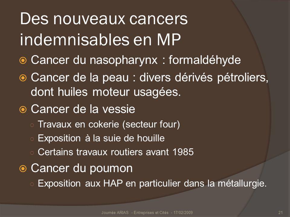 Des nouveaux cancers indemnisables en MP