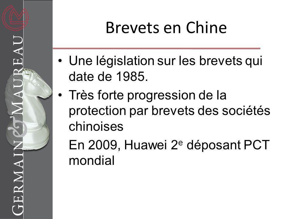 Brevets en Chine Une législation sur les brevets qui date de 1985.