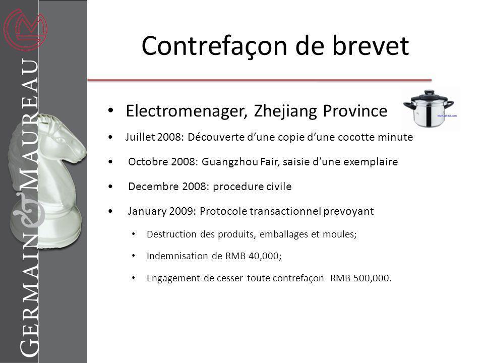 Contrefaçon de brevet Electromenager, Zhejiang Province