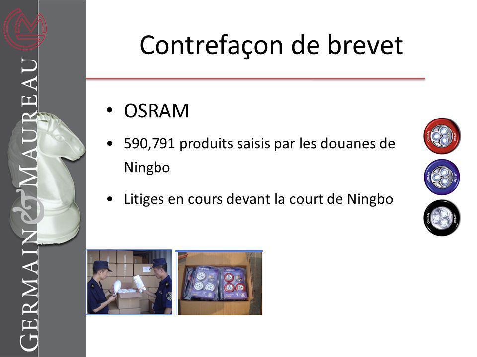 Contrefaçon de brevet OSRAM
