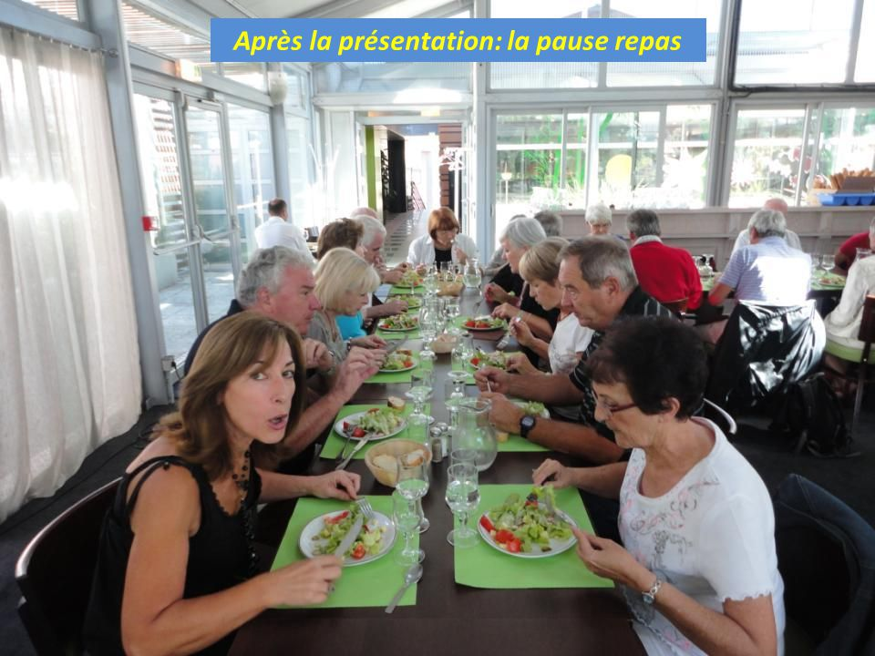 Après la présentation: la pause repas