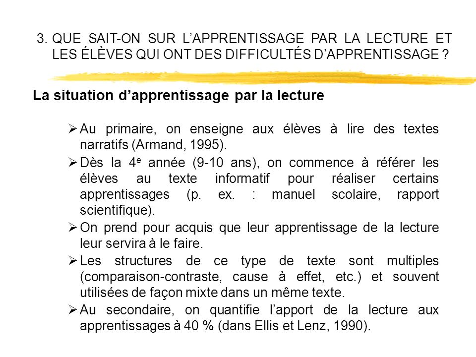 La situation d'apprentissage par la lecture
