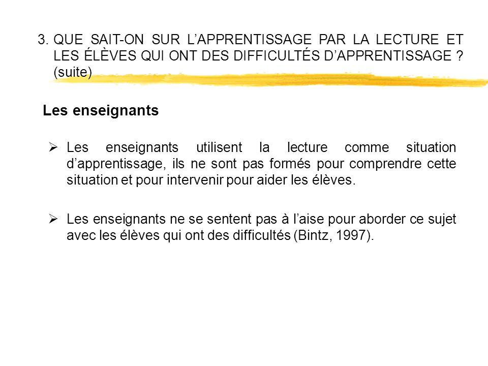 3. QUE SAIT-ON SUR L'APPRENTISSAGE PAR LA LECTURE ET LES ÉLÈVES QUI ONT DES DIFFICULTÉS D'APPRENTISSAGE (suite)