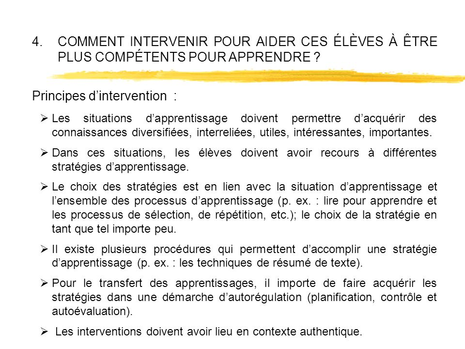 Principes d'intervention :