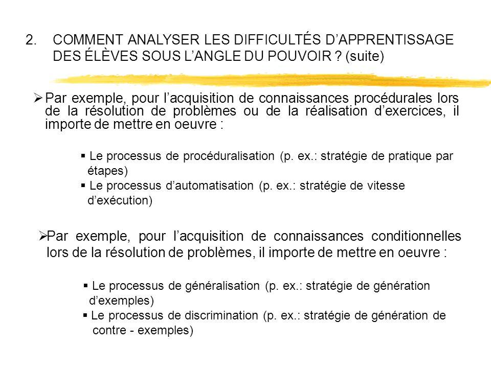  Le processus de généralisation (p. ex.: stratégie de génération