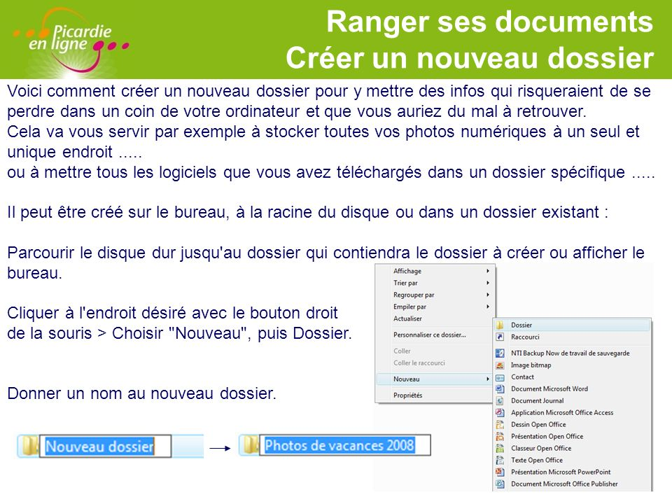 Ranger ses documents Créer un nouveau dossier