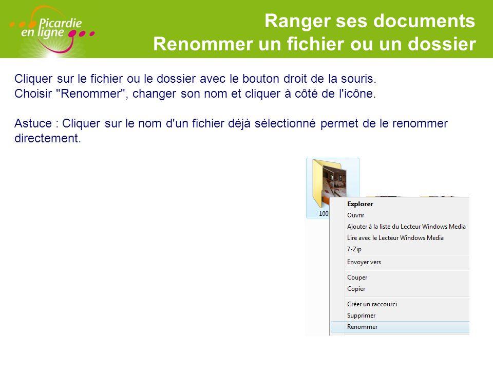 Ranger ses documents Renommer un fichier ou un dossier