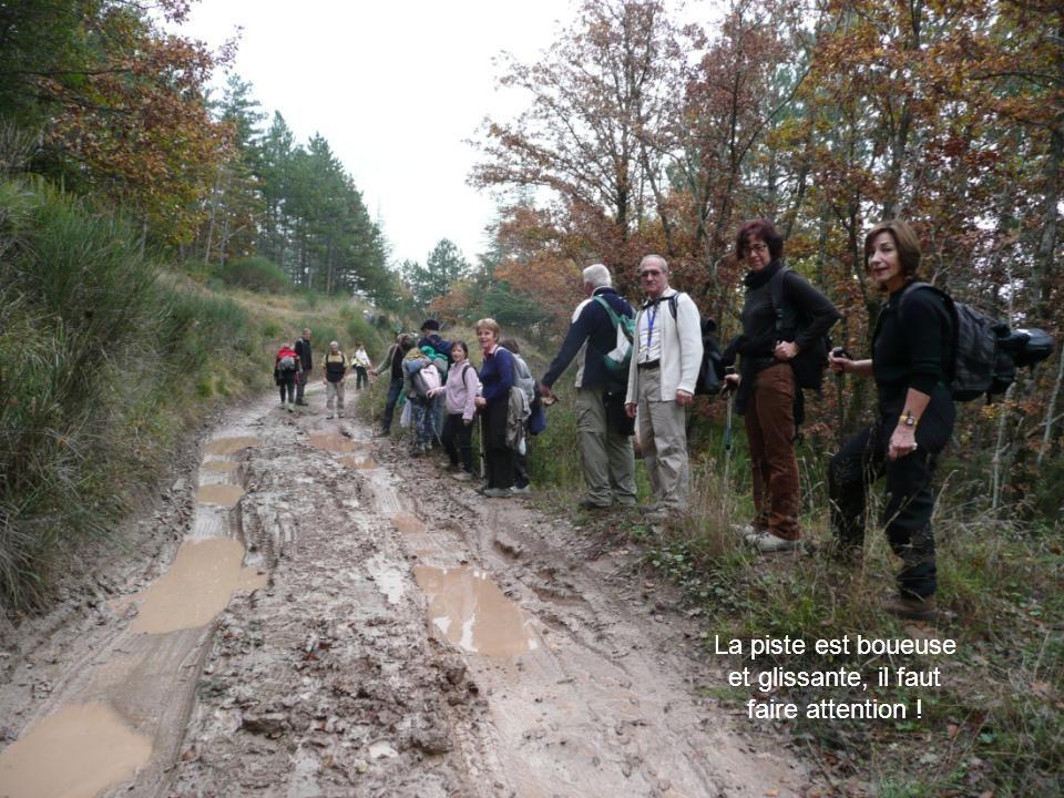 La piste est boueuse et glissante, il faut faire attention !