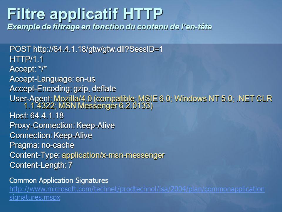 Filtre applicatif HTTP Exemple de filtrage en fonction du contenu de l'en-tête