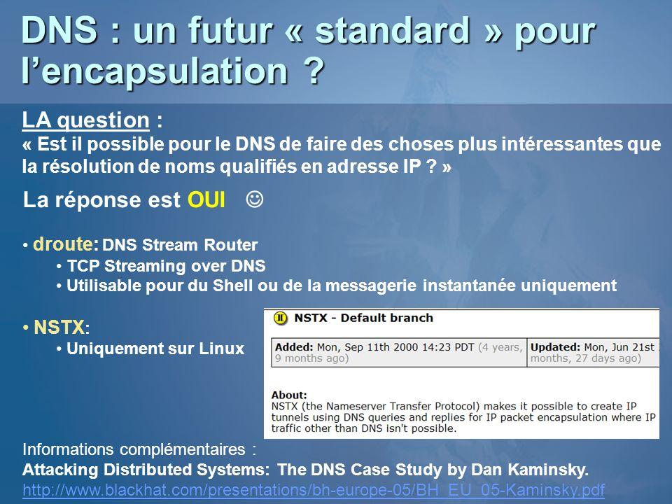 DNS : un futur « standard » pour l'encapsulation