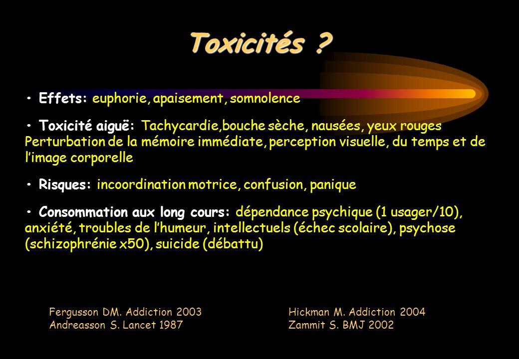 Toxicités • Effets: euphorie, apaisement, somnolence