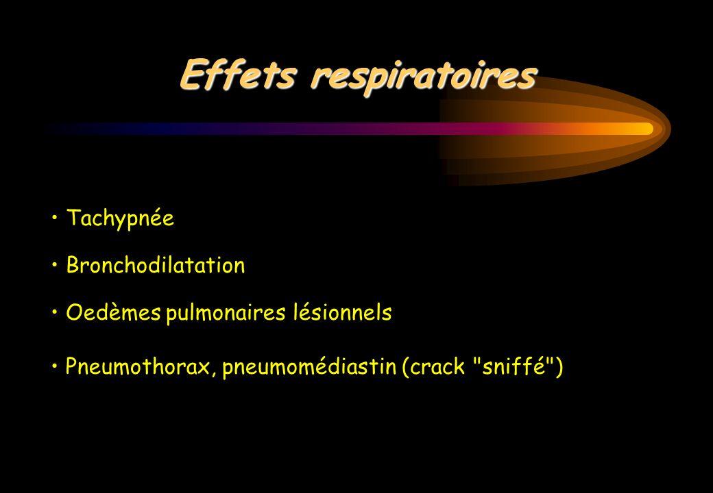 Effets respiratoires • Tachypnée • Bronchodilatation