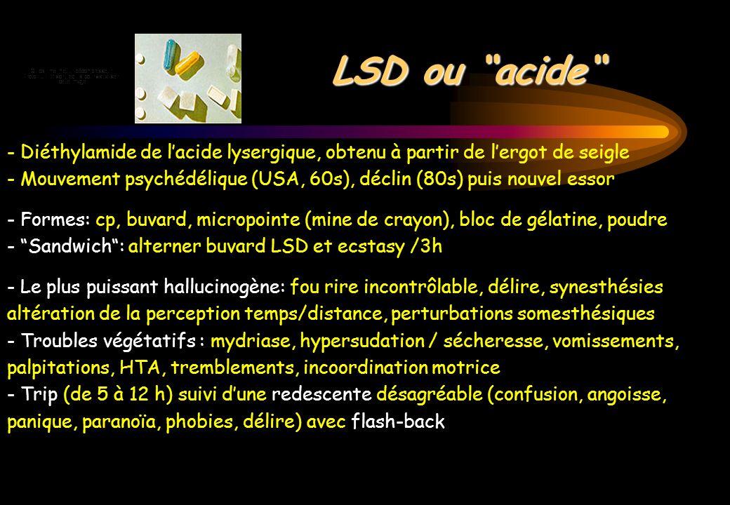 LSD ou acide - Diéthylamide de l'acide lysergique, obtenu à partir de l'ergot de seigle.