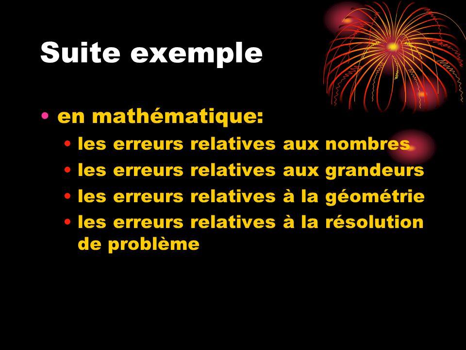 Suite exemple en mathématique: les erreurs relatives aux nombres
