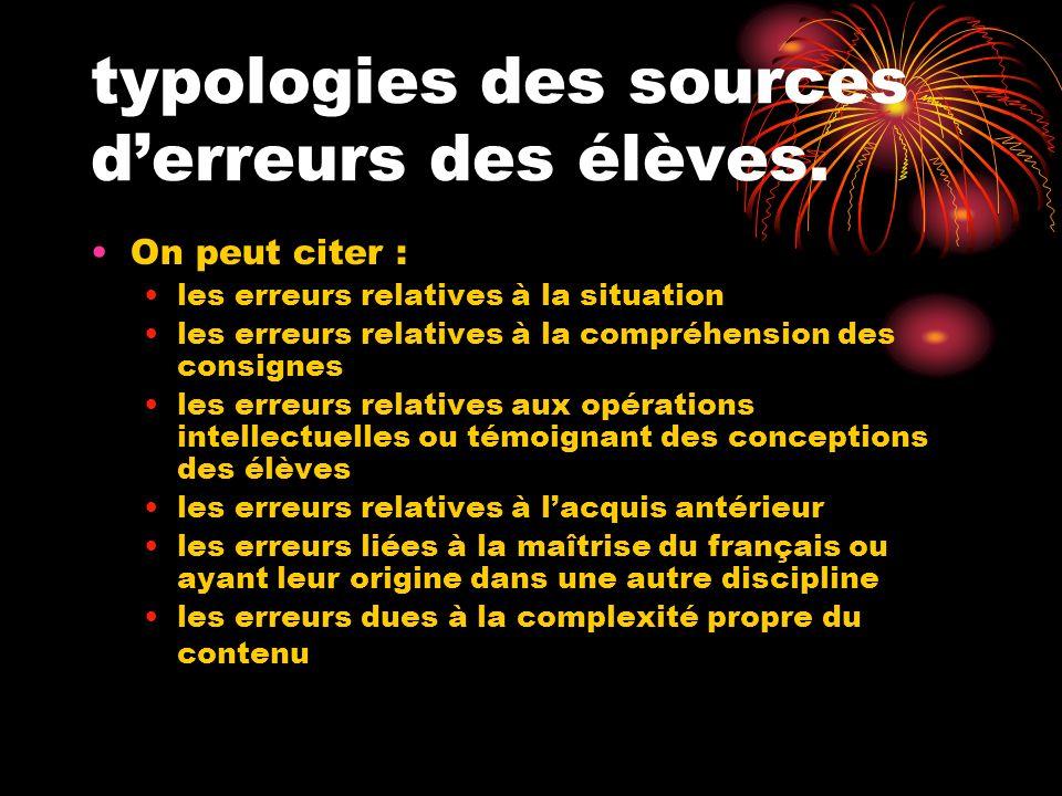 typologies des sources d'erreurs des élèves.