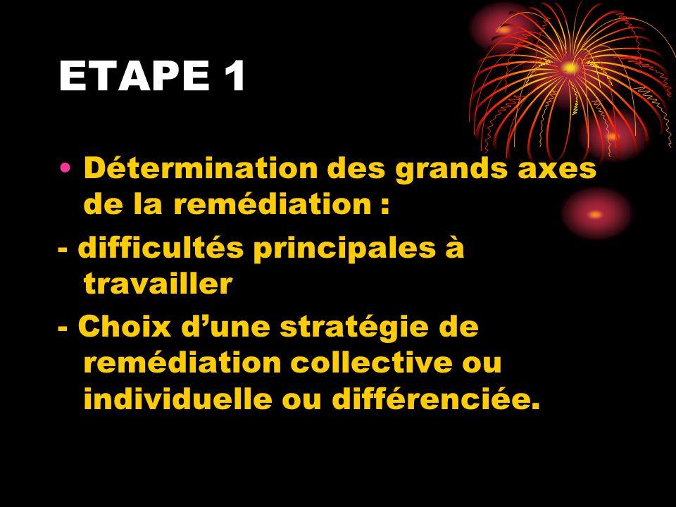 ETAPE 1 Détermination des grands axes de la remédiation :