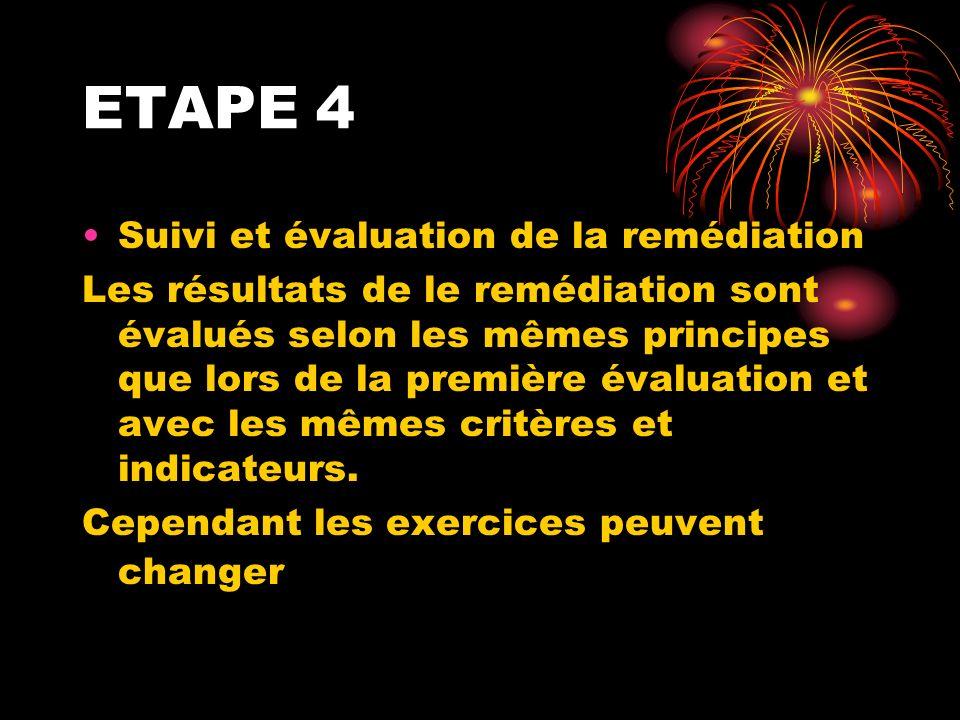 ETAPE 4 Suivi et évaluation de la remédiation