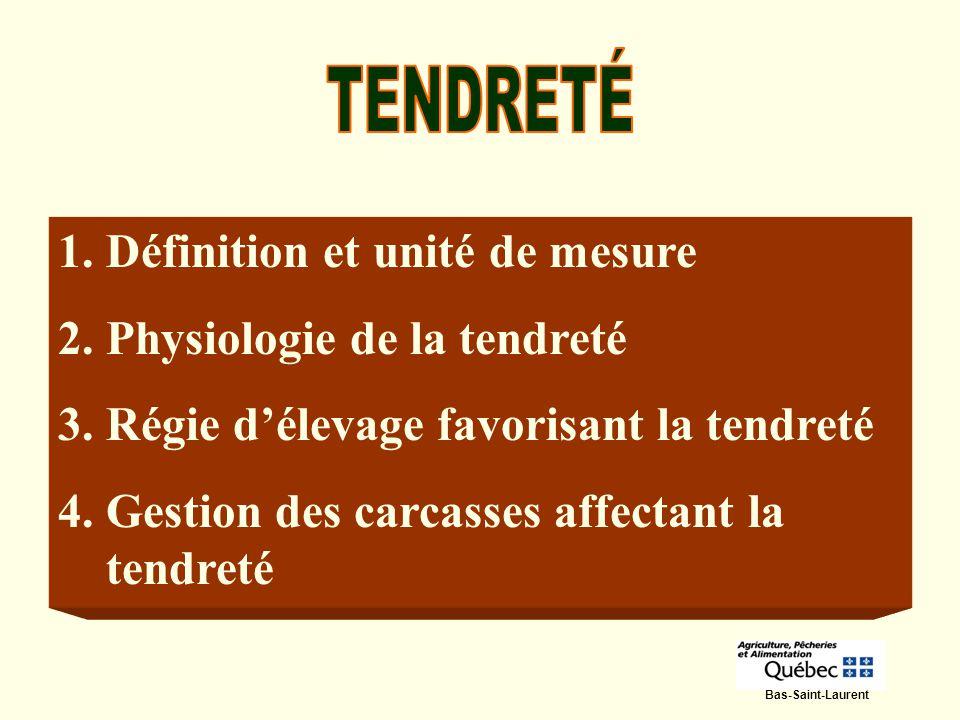 Définition et unité de mesure Physiologie de la tendreté