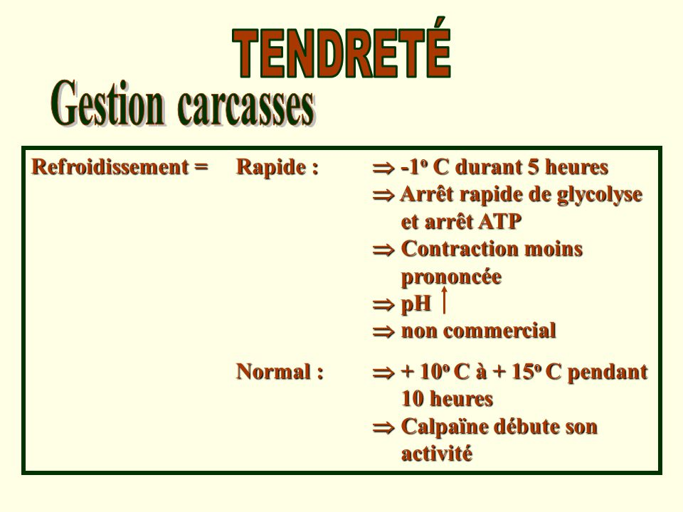 TENDRETÉ Gestion carcasses