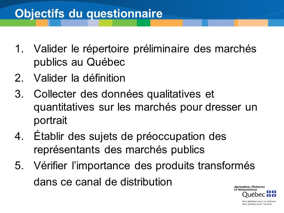 Objectifs du questionnaire