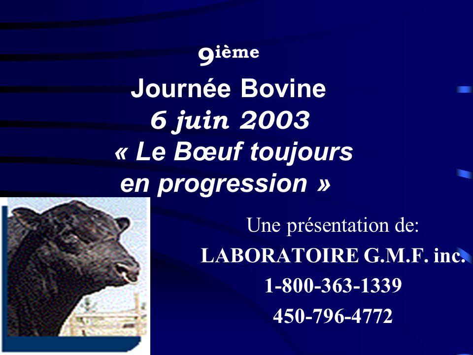 9ième Journée Bovine 6 juin 2003 « Le Bœuf toujours en progression »