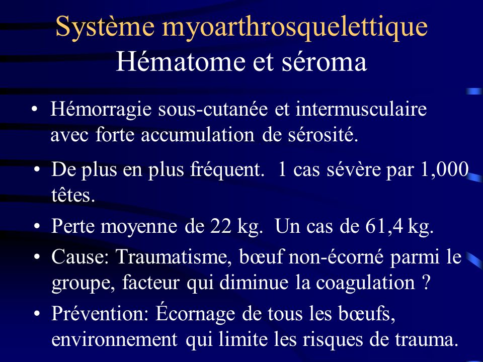 Système myoarthrosquelettique Hématome et séroma