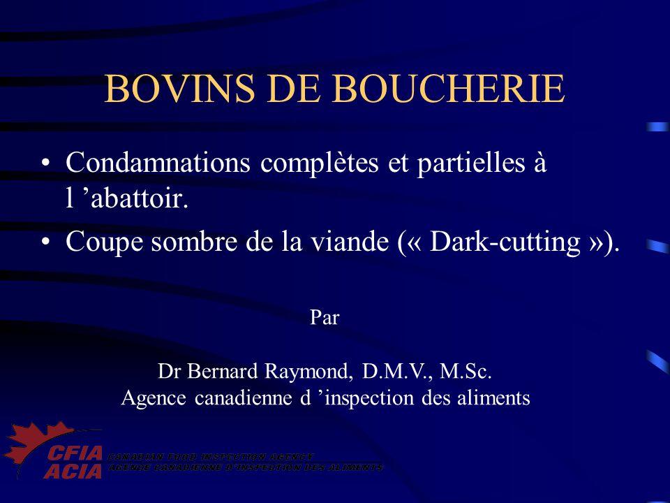 BOVINS DE BOUCHERIE Condamnations complètes et partielles à l 'abattoir. Coupe sombre de la viande (« Dark-cutting »).