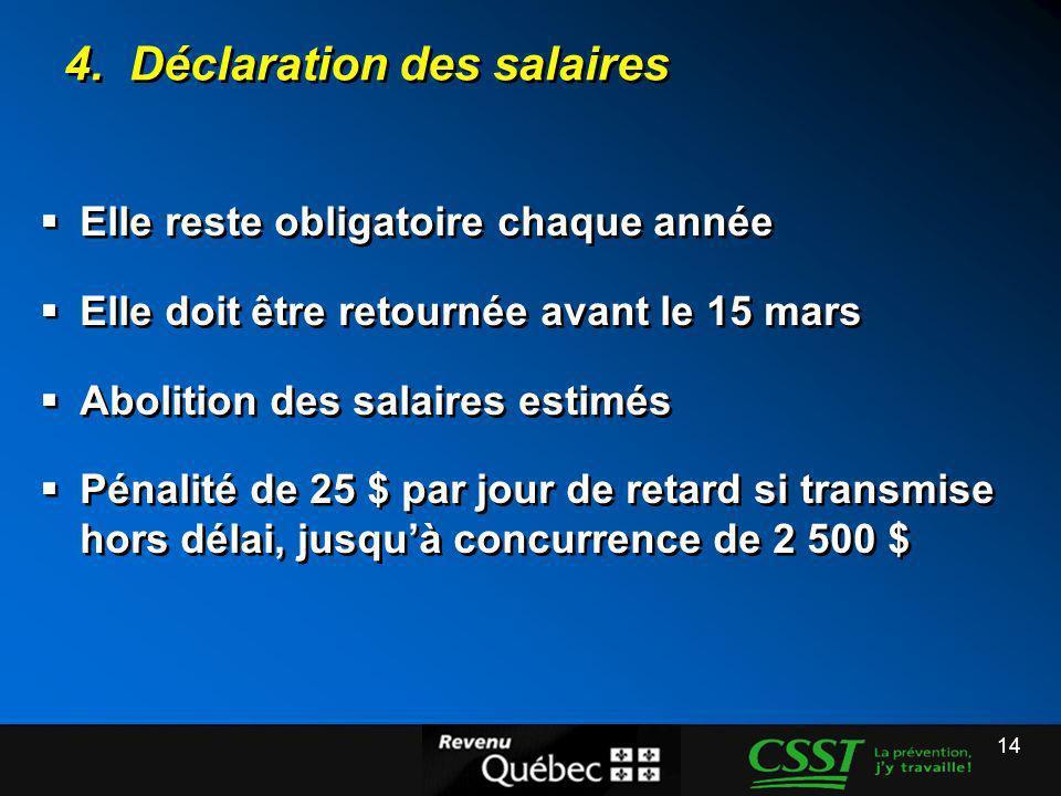 4. Déclaration des salaires
