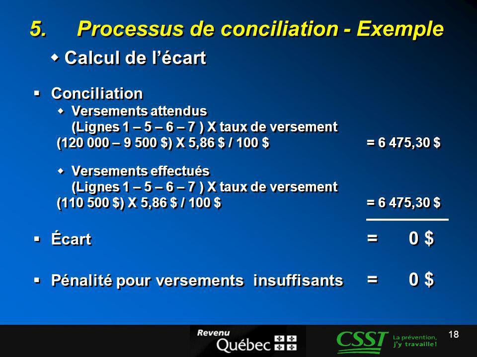 5. Processus de conciliation - Exemple