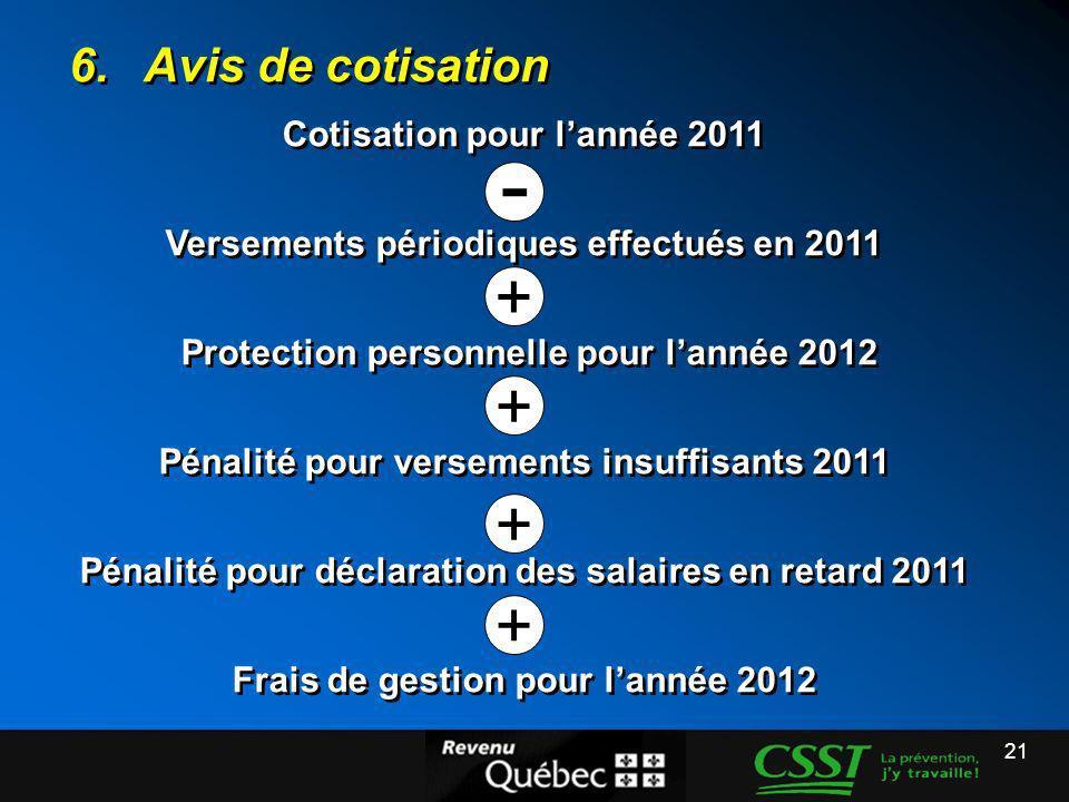 - + 6. Avis de cotisation Cotisation pour l'année 2011