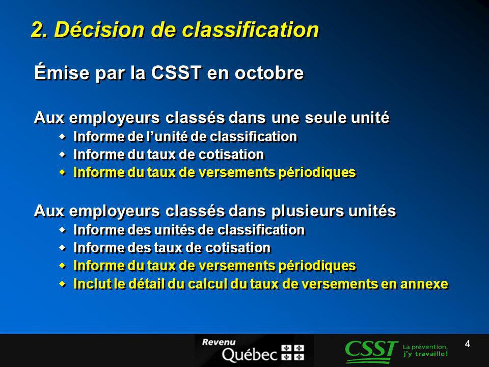 2. Décision de classification