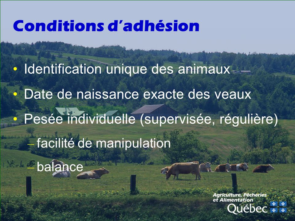 Conditions d'adhésion