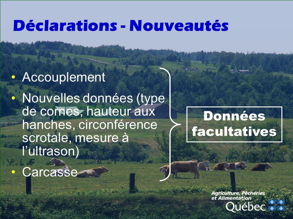 Déclarations - Nouveautés