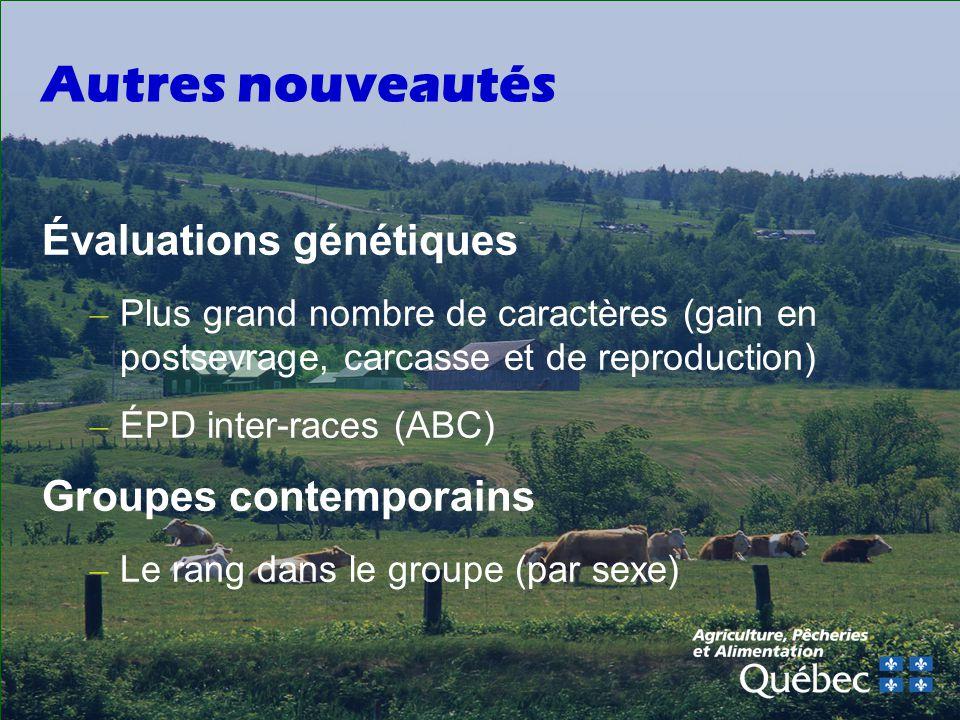 Autres nouveautés Évaluations génétiques Groupes contemporains