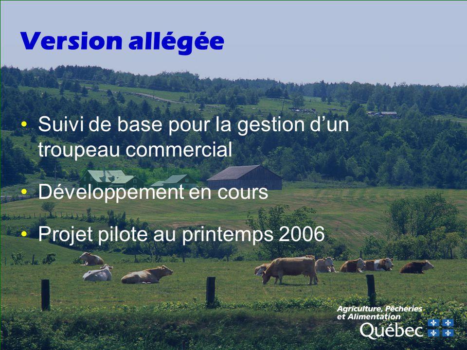 Version allégée Suivi de base pour la gestion d'un troupeau commercial