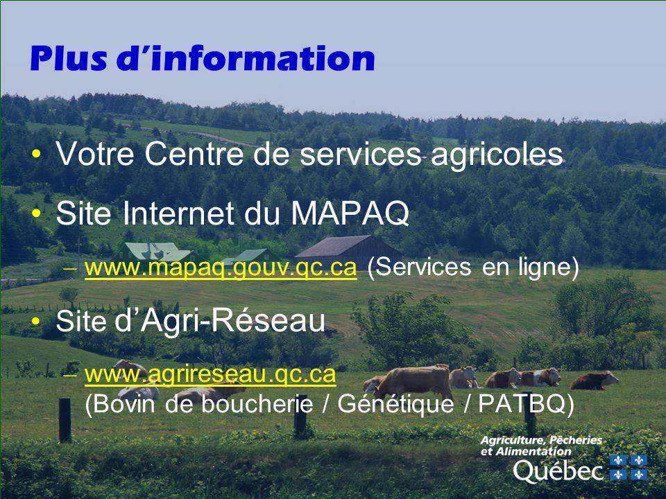 Plus d'information Votre Centre de services agricoles