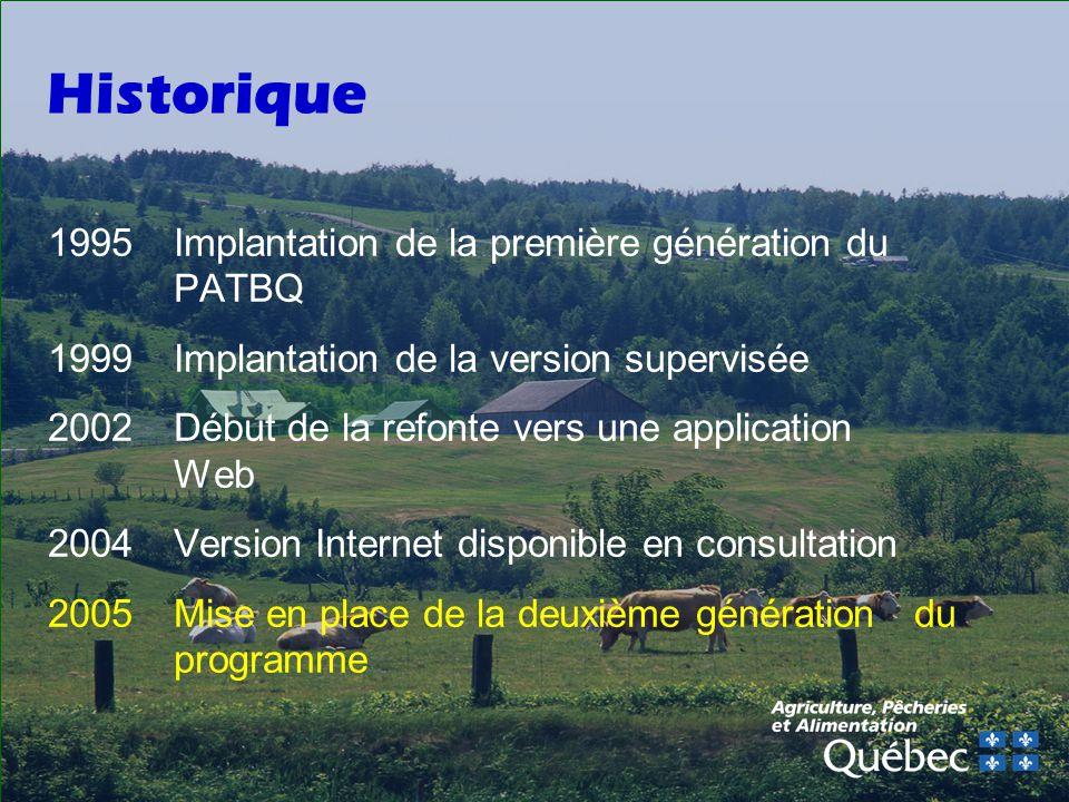 Historique 1995 Implantation de la première génération du PATBQ